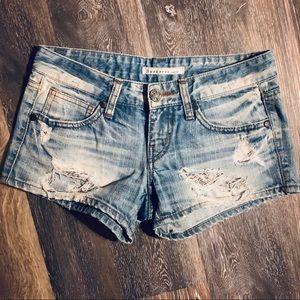 Buckaroo Destroyed Denim Shorts Size 28